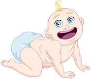 Cute Baby Boy With Diaper Crawling. Vector illustration of a cute baby boy crawling and smiling Stock Images
