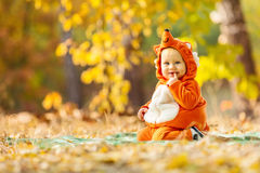 Cute baby boy dressed in fox costume Royalty Free Stock Photography