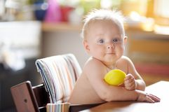 Cute baby boy eating healthy food Stock Photography