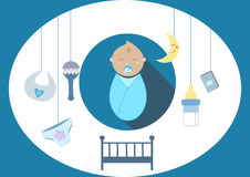 Cute baby boy elements,  illustration Stock Photography