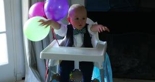 Cute Baby Boy First Birthday stock video