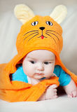 Cute baby boy in funny towel Royalty Free Stock Photography