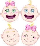 Cute Baby Boy And Girl Head Set Stock Image
