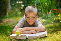 Cute baby boy with glasses lying on green grass, reading the book in summer day. Royalty Free Stock Photography