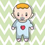 Cute baby boy with hairstyle. Vector illustration Stock Photo