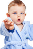 Cute baby boy with hand forward Royalty Free Stock Photography