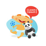 Cute Baby Boy Happy Embracing Panda Bear Toy Toddler Cartoon Infant In Diaper. Flat Vector Illustration Royalty Free Stock Images