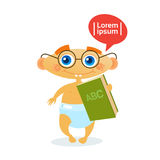 Cute Baby Boy Holding Book Toddler Happy Cartoon Infant In Diaper Reading. Flat Vector Illustration Stock Photos