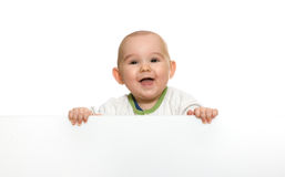 Cute baby boy holding empty blank board Stock Images