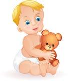 Cute baby boy. Baby boy holding cute teddy bear  on white Royalty Free Stock Photo