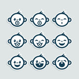 Cute Baby Boy Icons stock illustration