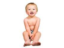 Cute Baby Boy Isolated Wearing Cloth Diaper Royalty Free Stock Images
