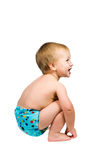 Cute Baby Boy Isolated Wearing Cloth Diaper Stock Images