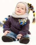 Cute baby boy in knitted handmade wear Stock Image