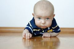 Cute Baby Boy Laying On His Tummy Royalty Free Stock Image