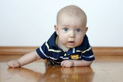 Cute Baby Boy Laying On His Tummy Royalty Free Stock Photography