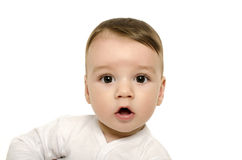Cute baby boy looking surprised. Royalty Free Stock Images