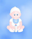 Cute baby boy with milk bottle Stock Image