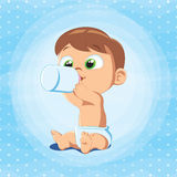 Cute Baby Boy with Milk Bottle. Vector illustration of a baby boy holding milk bottle. Little baby sitting and drinking milk Royalty Free Stock Photos