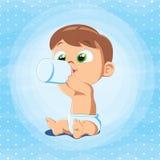 Cute Baby Boy with Milk Bottle. Vector illustration of a baby boy holding milk bottle. Little baby sitting and drinking milk vector illustration