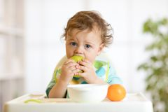 Cute baby 1 years old sitting on high children chair and eating fruits alone in white kitchen stock photo
