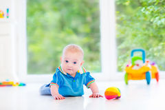 Cute baby boy playing with colorful ball and toy car Stock Photo