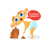 Cute Baby Boy Playing With Dog Toddler Happy Cartoon Infant In Diaper. Flat Vector Illustration Stock Photos