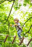 Cute baby boy playing. Kid climbing trees in park. Hike and kids concept. Beautiful little child climbing and having fun royalty free stock images