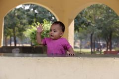 Cute baby boy playing in the park. He is very happy looking cute Stock Photography