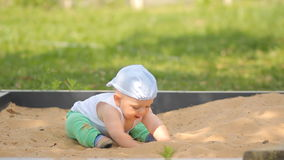 Cute baby boy playing with sand in a sandbox. Summer park and green grass in the background.  stock footage