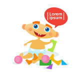 Cute Baby Boy Playing With Toys Toddler Happy Cartoon Infant In Diaper. Flat Vector Illustration Royalty Free Stock Image
