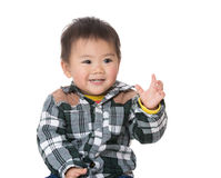 Cute baby boy rasie hand up Royalty Free Stock Images