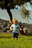 Cute baby boy runs on green grass Royalty Free Stock Photo