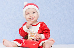 Cute baby boy santa helper Royalty Free Stock Photos