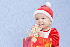 Cute baby boy santa helper Royalty Free Stock Photography