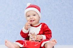 Cute baby boy santa helper Royalty Free Stock Photos