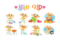Cute Baby Boy Set Toddler Happy Cartoon Infant In Diaper Collection Royalty Free Stock Photos