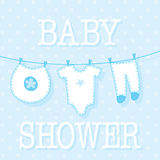 Cute baby boy shower ivitation card Royalty Free Stock Images