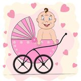 Cute  Baby boy is sitting on a carriage. Greeting card Stock Photography