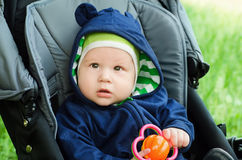 Cute baby boy. Sitting in the stroller Stock Photography