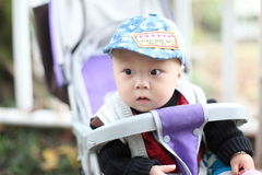 Cute baby boy sitting in stroller Royalty Free Stock Photo