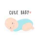 Cute baby boy sleeping. Vector hand drawn cartoon illustration Royalty Free Stock Photo