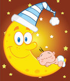 Cute Baby Boy Sleeps On The Moon With Sleeping Hat Over Sky With Stars Royalty Free Stock Images