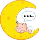 Cute Baby Boy Sleeps On Moon With Speech Bubble. Cartoon Character Royalty Free Stock Photography