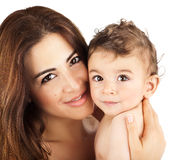 Cute baby boy smiling with mother Stock Photography