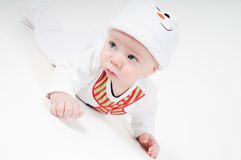 Cute baby boy in snowman costume Royalty Free Stock Photo