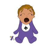 Cute baby boy with soother. Vector illustration of a baby boy crying with soother. Cute child in purple pajamas stock illustration