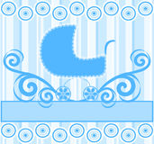 cute baby boy stroller on blue striped background Stock Images
