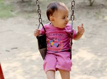 Cute baby boy swinging in the park stock photo