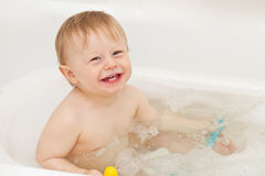 Cute baby-boy taking a bath Royalty Free Stock Image